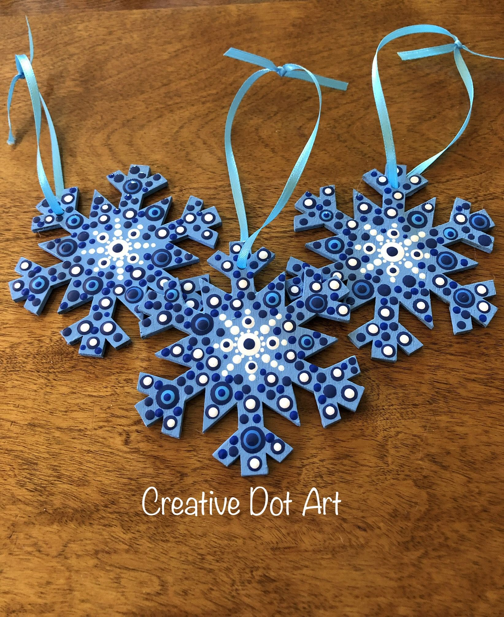 Dotted Wooden Snowflake Ornament Christmas Mandala Christmas Ornament Crafts Wooden Snowflakes