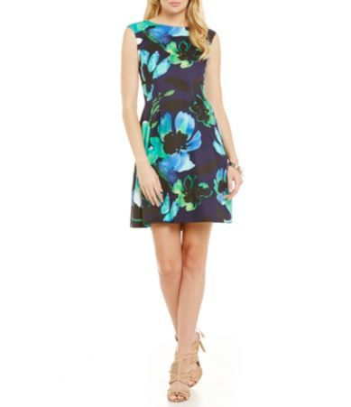 Vince Camuto Aqua Flower Flare Dress Dillards Wedding Guest FashionSummer