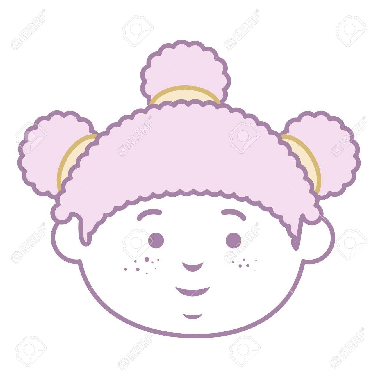 beautiful little girl head character vector illustration design ,