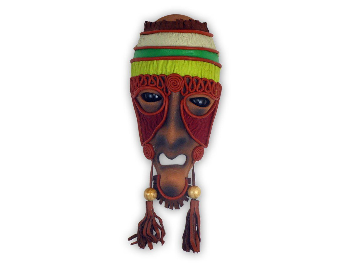 Handmade ceramic mask leather mask wooden eyes leather and wooden