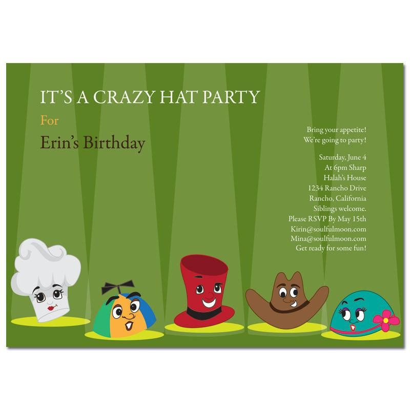 Theme Party Invitation - Crazy Hat Party | crazy hat and backpack ...