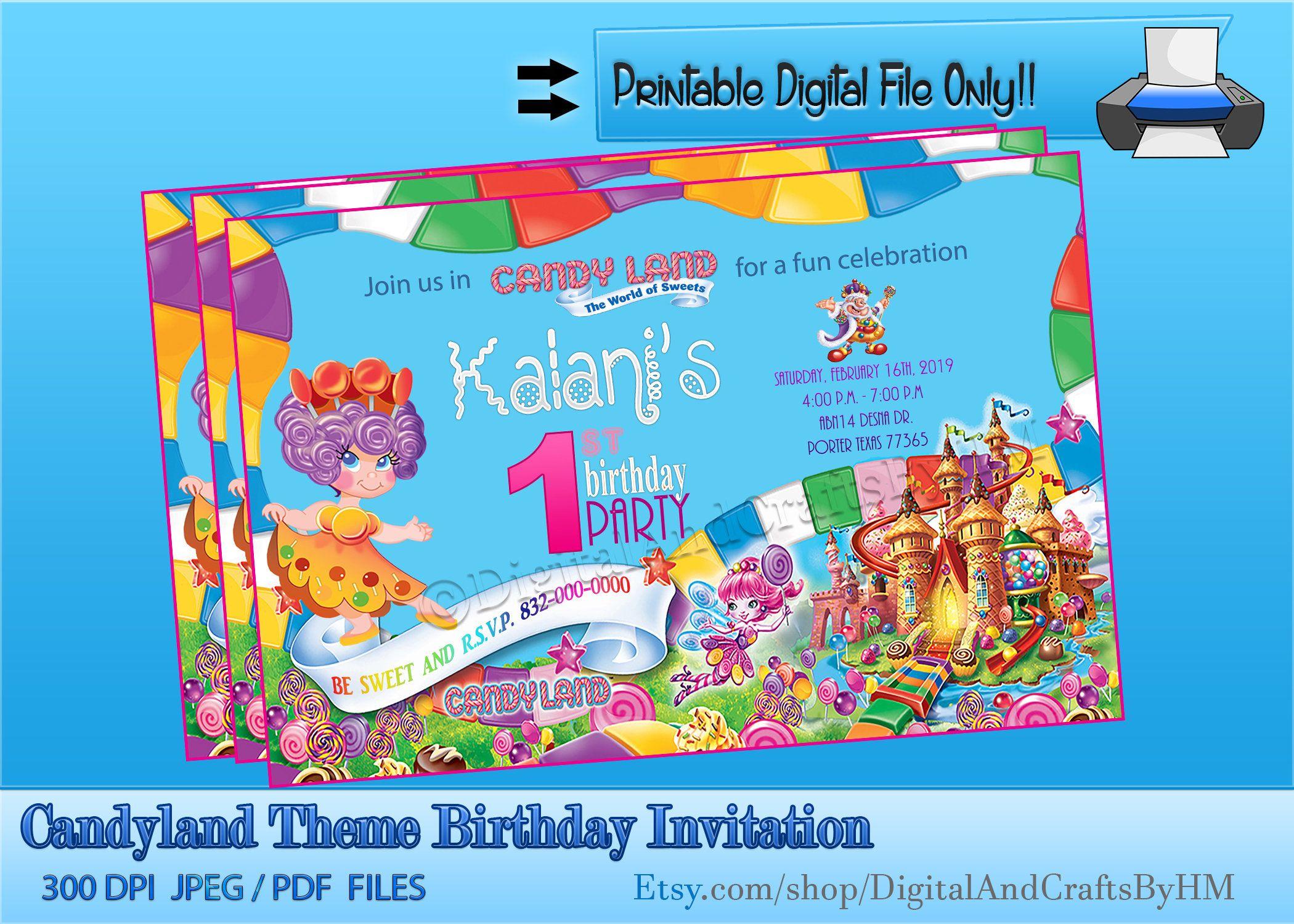 Candyland Theme Birthday InvitationCandyland Birthday