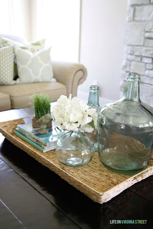 How To Decorate With Vintage Glass Bottles Coffee Table Decor Tray Coffee Table Decor Living Room Coffee Table Living Room Modern