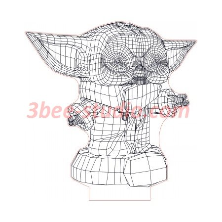 Baby Yoda 3d Illusion Lamp Plan Vector File For Laser And Cnc 3bee Studio In 2020 3d Illusion Lamp 3d Illusions Illusions