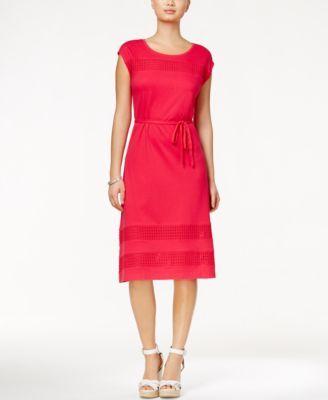 TOMMY HILFIGER Tommy Hilfiger Leta Cap-Sleeve A-Line Dress. #tommyhilfiger #cloth # dresses