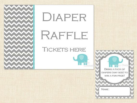 Blue Elephant Diaper Raffle Ticket Baby Shower BE56 Printable   Instant  Download