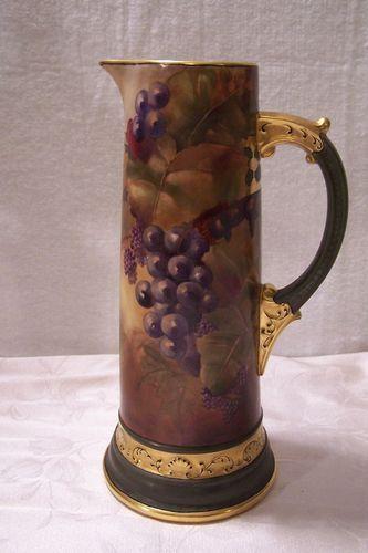 Limoges Porcelain Grape & Blackberry Tankard Pitcher Accented w/ Heavy Gold Gilding (Pickard Style) - signed 'Irene V. Hinterleiter Jan 1909'   marked WG (William Guerin) 1836-1900