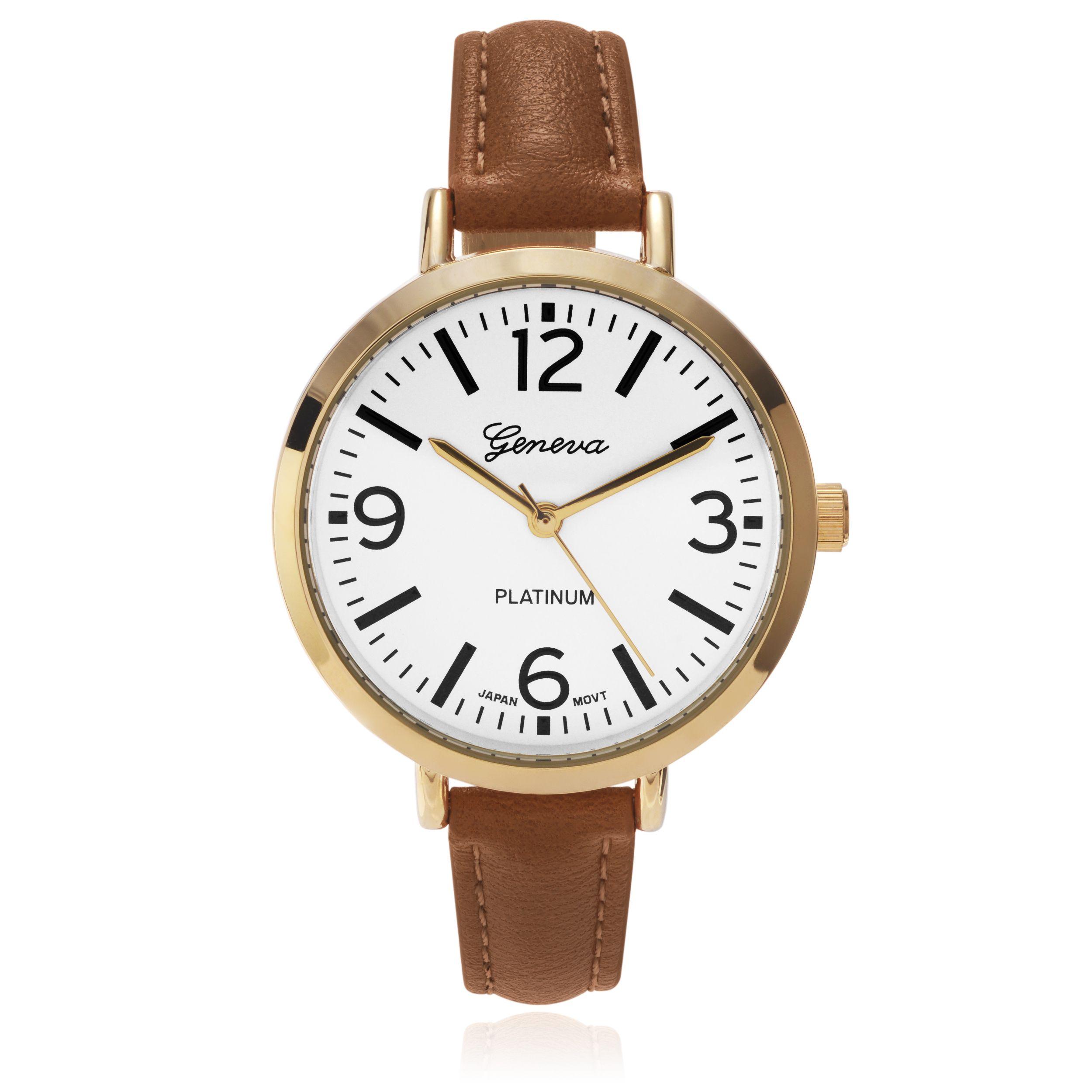 Geneva Platinum Women's Colored Slender Strap Watch