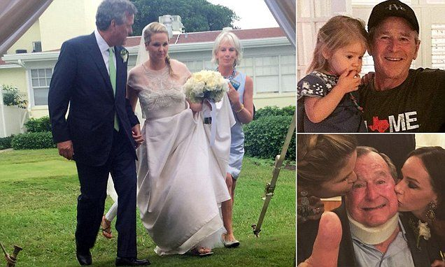George H W Bush Gets A Kiss From Granddaughters At Family