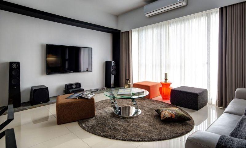 Ideen Wohnzimmer Oranger Hocker Neutrale Farbgestaltung
