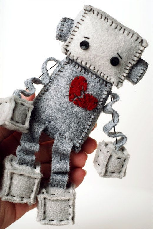 Anti Valentine's Day Sad Robot Plush with a Broken by GinnyPenny