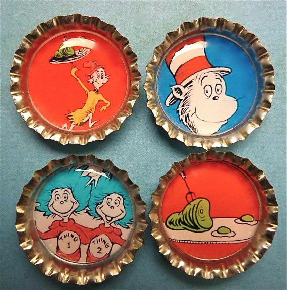 Dr Suess magnets Cat in the Hat bottle cap by WilmaandBetty, $8.00