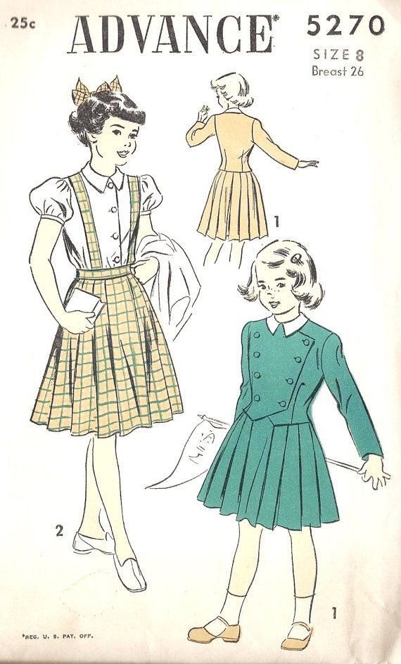 1940s Girls Dress Vintage Sewing PatterN, McCall 7279 Girls Size 8 ...