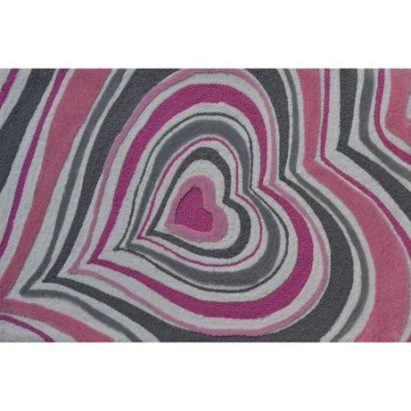 The Rug Market Heart Stripe 2.8 inch x 4.8 inch Area Rug, White