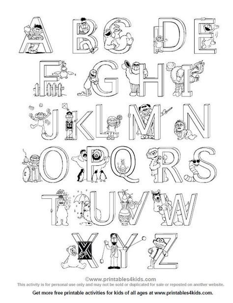 Sesame Street Alphabet Coloring Page Printables For Kids Free Word Search Pu Sesame Street Coloring Pages Preschool Coloring Pages Printable Coloring Pages