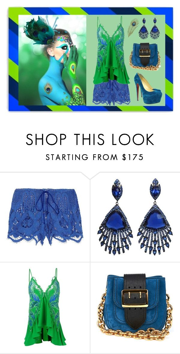 """""""Peacock"""" by deborah-calton ❤ liked on Polyvore featuring Rayure, Miguelina, Roberto Cavalli, Burberry and Christian Louboutin"""