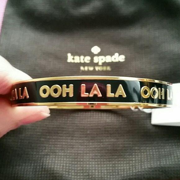 Kate Spade OOH LA LA Idiom Bangle Bracelet NWT 14k gold plated & black enamel Ohh La La idiom bracelet. kate spade Jewelry Bracelets