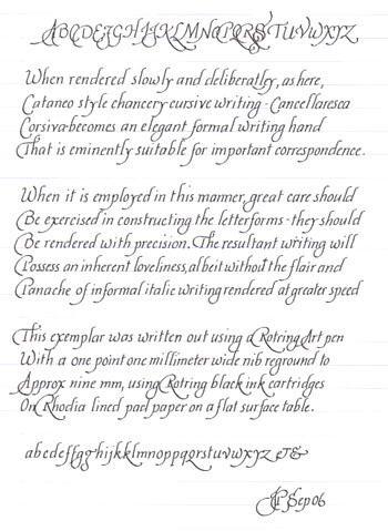 Calligraphy -- lovely italic script