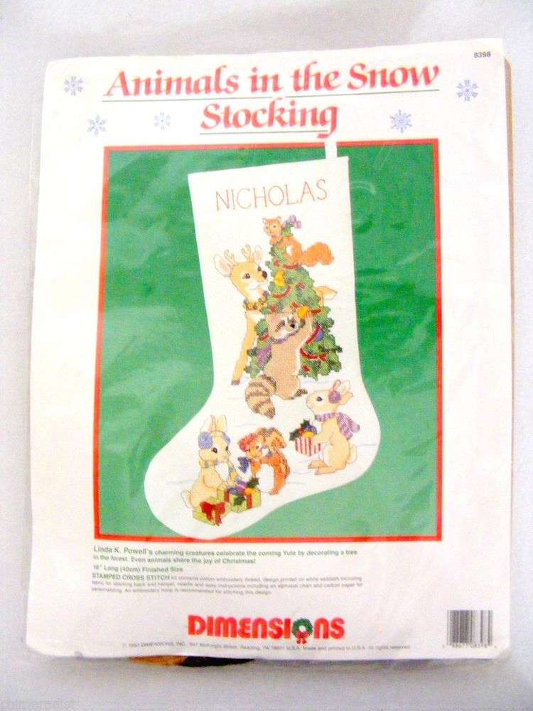 Vintage 1990 Stamped Cross Stitch Embroidery Christmas Stocking Kit Started #Dimensions #Stocking