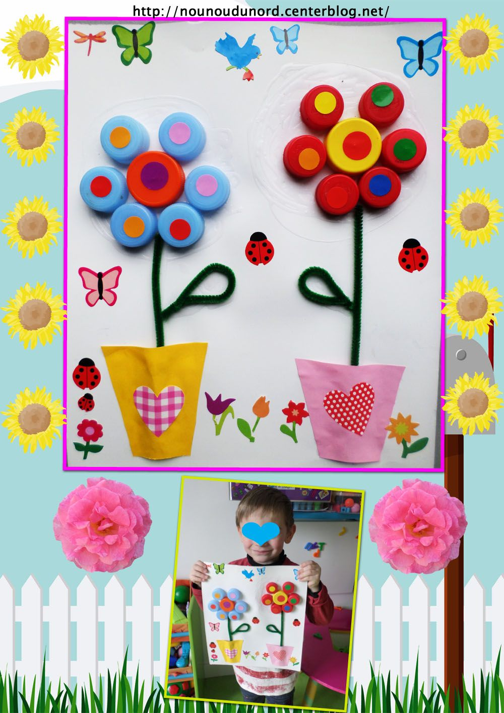 Bloemen knutselen met doppen