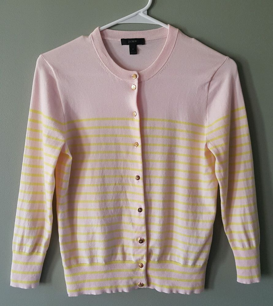 J Crew light pink bright yellow striped cardigan sweater womens ...