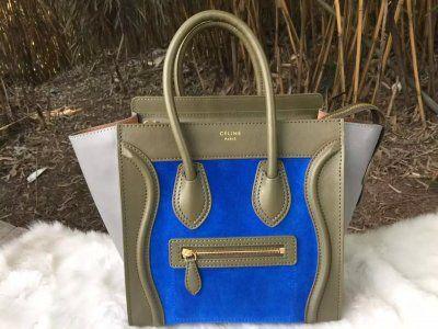 S S 2016 Celine Collection Outlet-Celine Micro Luggage Handbag in  Multi-color Calfskin C0406-GRBT b888c44382e86