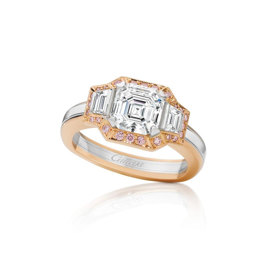 0c1fbf9790bad Rhapsody White Emerald Cut and Pink Diamond Ring | Calleija White ...