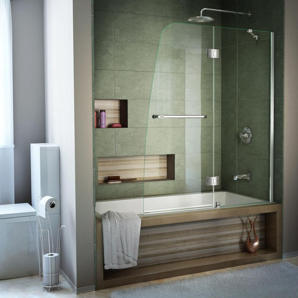 Aqua 48 Inch X 58 Inch Semi Frameless Pivot Tub And Shower Door In