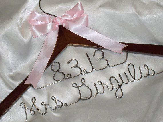 Custom wedding dress hanger with 2 lines  by HangingMemories4ever, $16.99