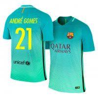 fc barcelona third 16 17 season 21 gomes green soccer jersey
