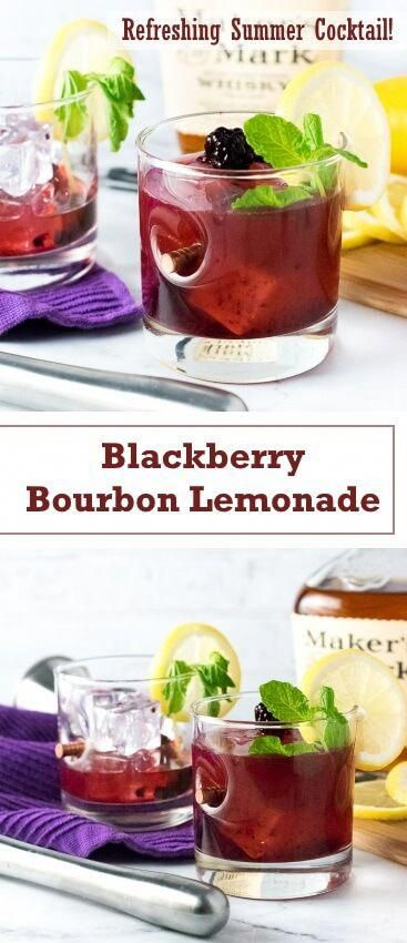 Blackberry Bourbon Lemonade recipe - Summer Cocktail via @foxvalleyfoodie #cocktailrecipesideas #easylemonaderecipe