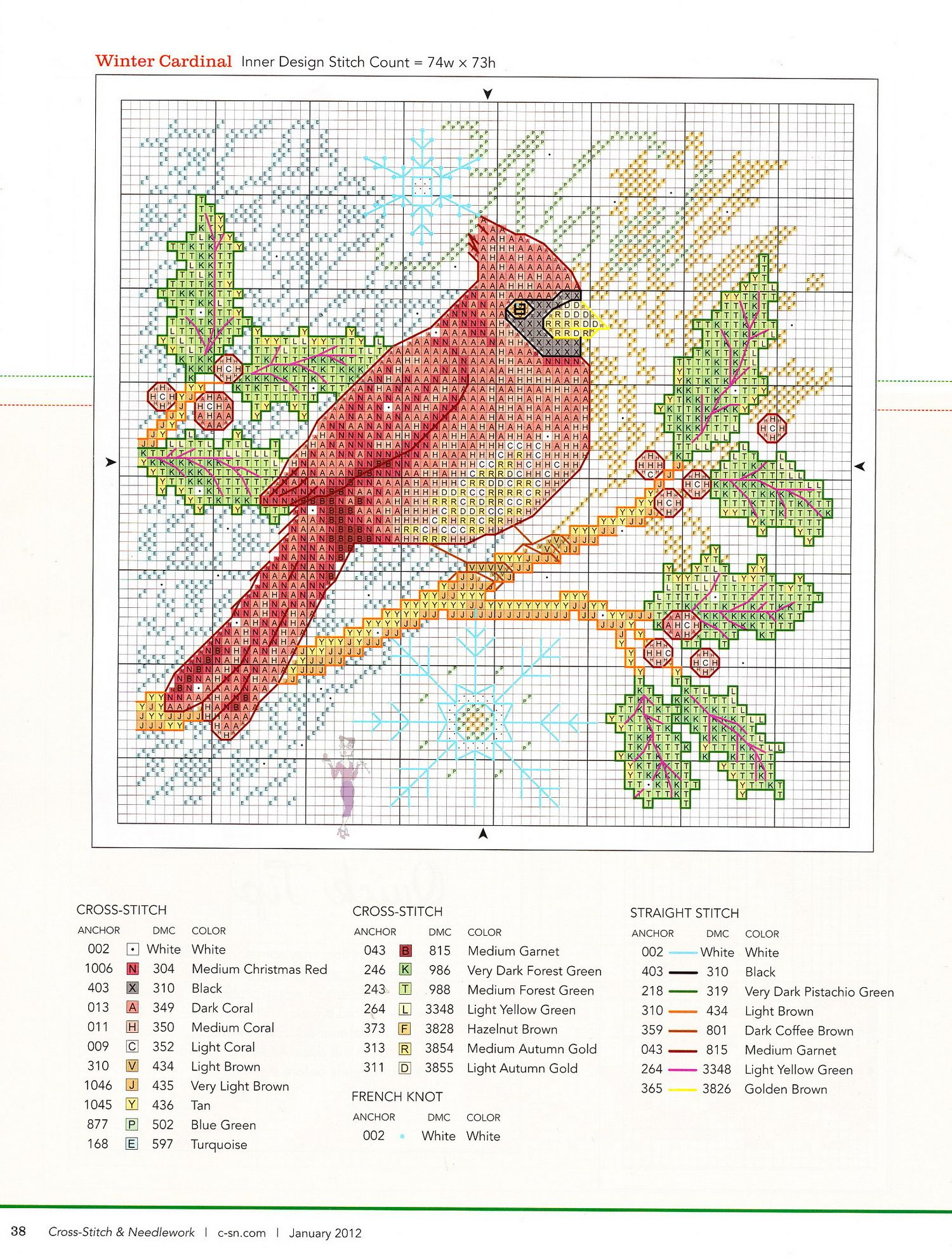 Northern Cardinal Chart Counted Cross Stitch Patterns Needlework embroidery
