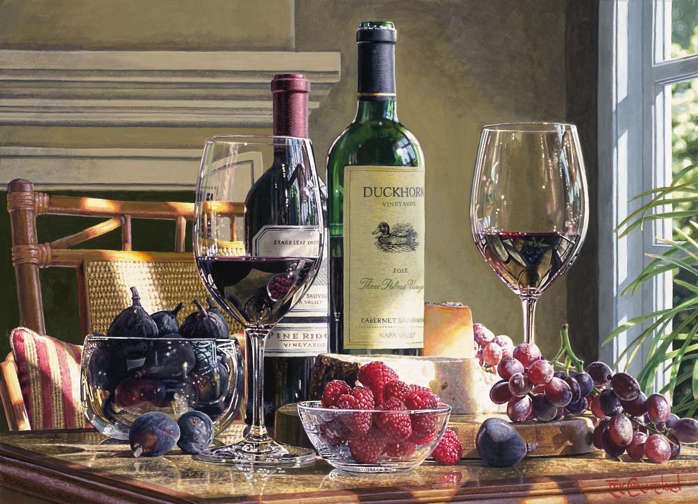 Открытка с бутылкой вина