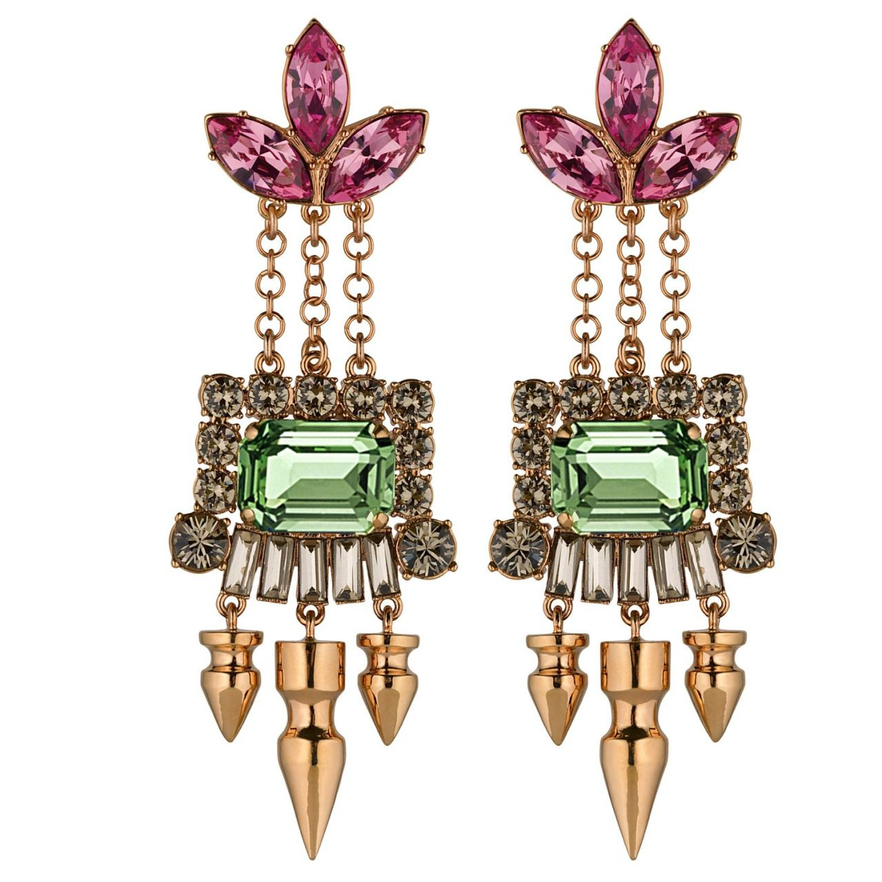 Mawi London Crystal Leaf Drop Earrings