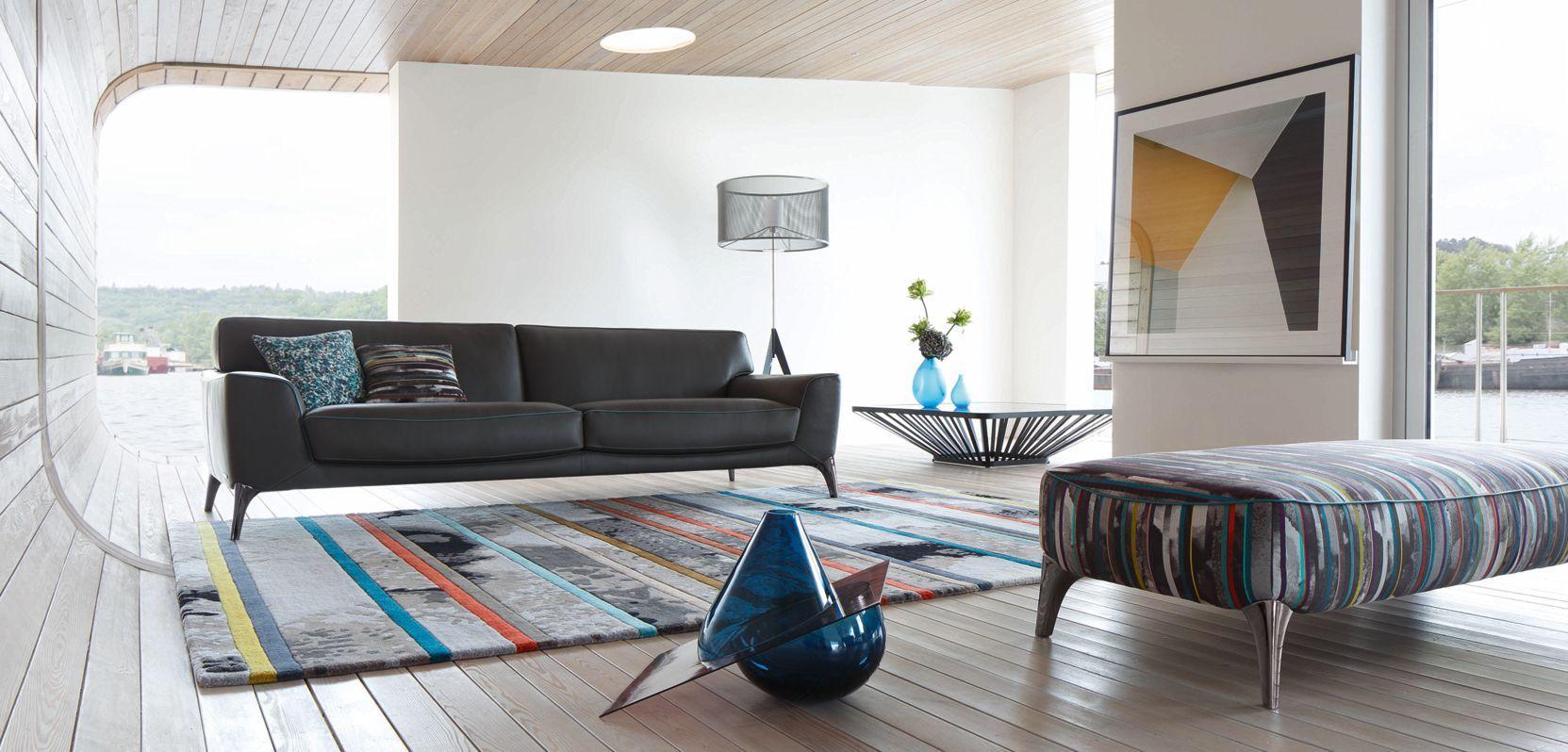 Roche Bobois Graphite Leather Sofa Design Philippe Bouix Rochebobois Leather Sofa Contemporary Furniture Sofa Design Seating