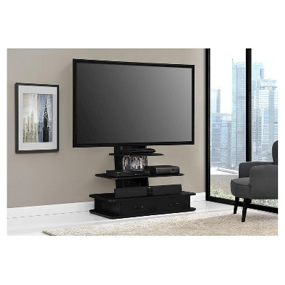 Galaxy 70 Tv Stand With Mount And Drawers Black Ameriwood Home