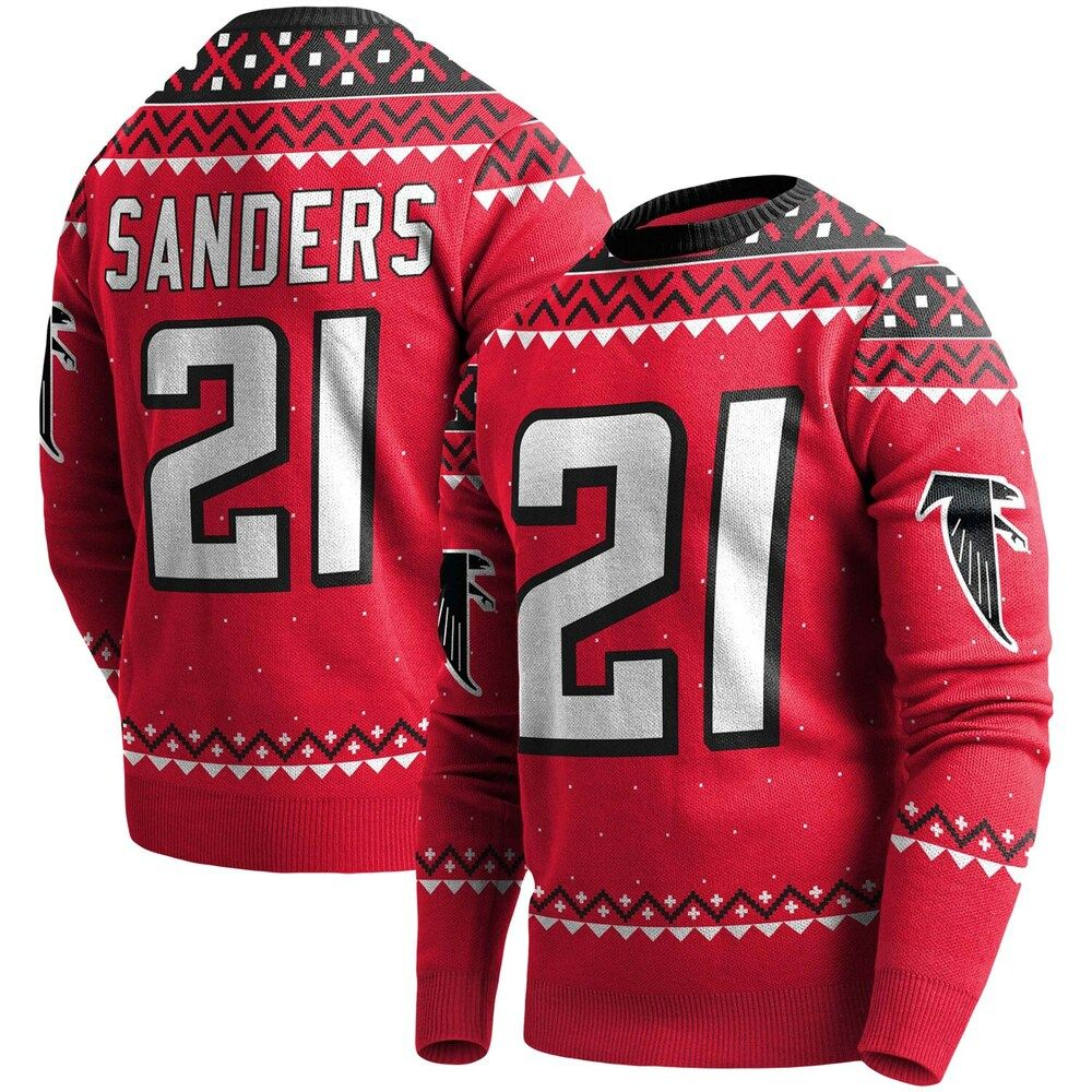 Men S Deion Sanders Red Atlanta Falcons Player Name Number Pullover Sweater Size Medium In 2020 Atlanta Falcons Players Pullover Sweaters Red Sweaters