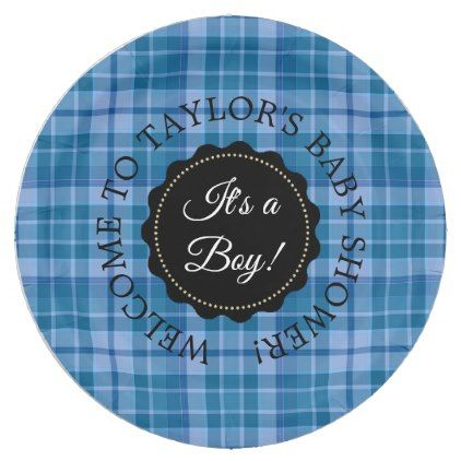Personalized baby shower blue plaid paper plates kitchen gifts diy personalized baby shower blue plaid paper plates kitchen gifts diy ideas decor special unique individual negle Gallery