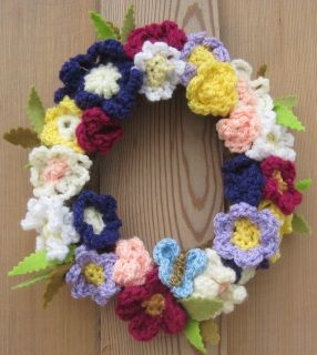Colourful Crocheted Wreath Of Flowers