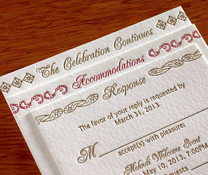 Baraat Enclosure Cards Are Sure To Impress Your Guests And Provide All The Necessary Info Letterpress Wedding Invitations Invitation Design Letterpress Wedding