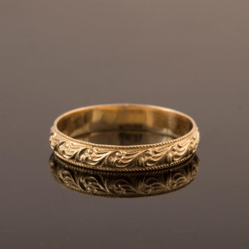 Unique Wedding Ring 18k Gold Wedding Ring Gold Wedding Ring Etsy In 2020 Wedding Rings Unique 18k Gold Wedding Rings Etsy Wedding Rings