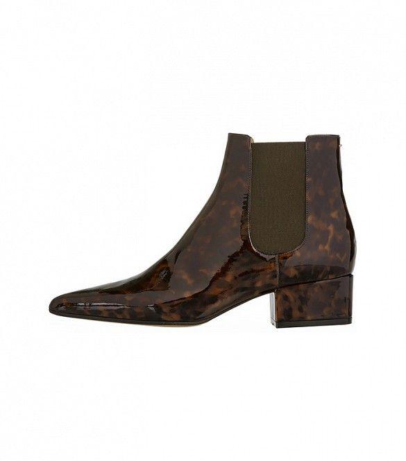 Maison Margiela Tortoiseshell Patent-Leather Chelsea Boots in Patent Tortoise