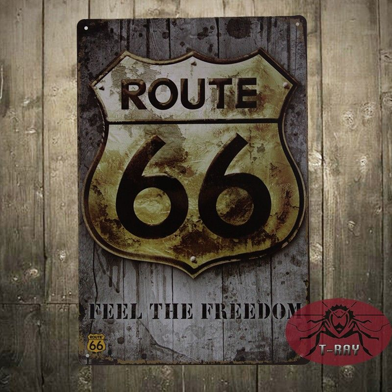Vintage Tin Signs Route 66 Wall Sticker Home Decor House Office