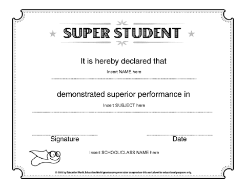 Education world super student certificate template education education world super student certificate template yadclub Images