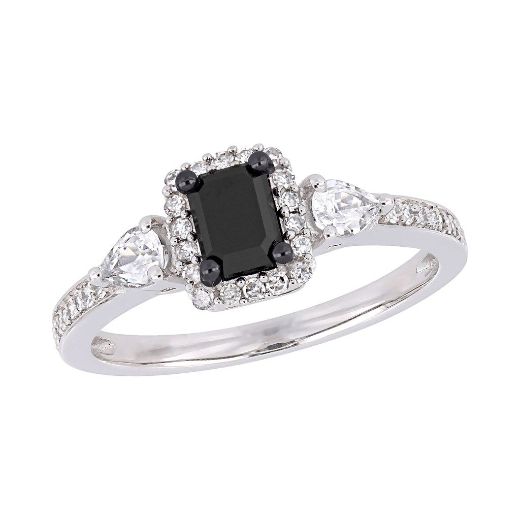 Stella Grace 10k White Gold 7 8 Carat T W Diamond White Sapphire Ring Women S Size 5 Black Black Sapphire Ring White Gold Gemstone Engagement Rings