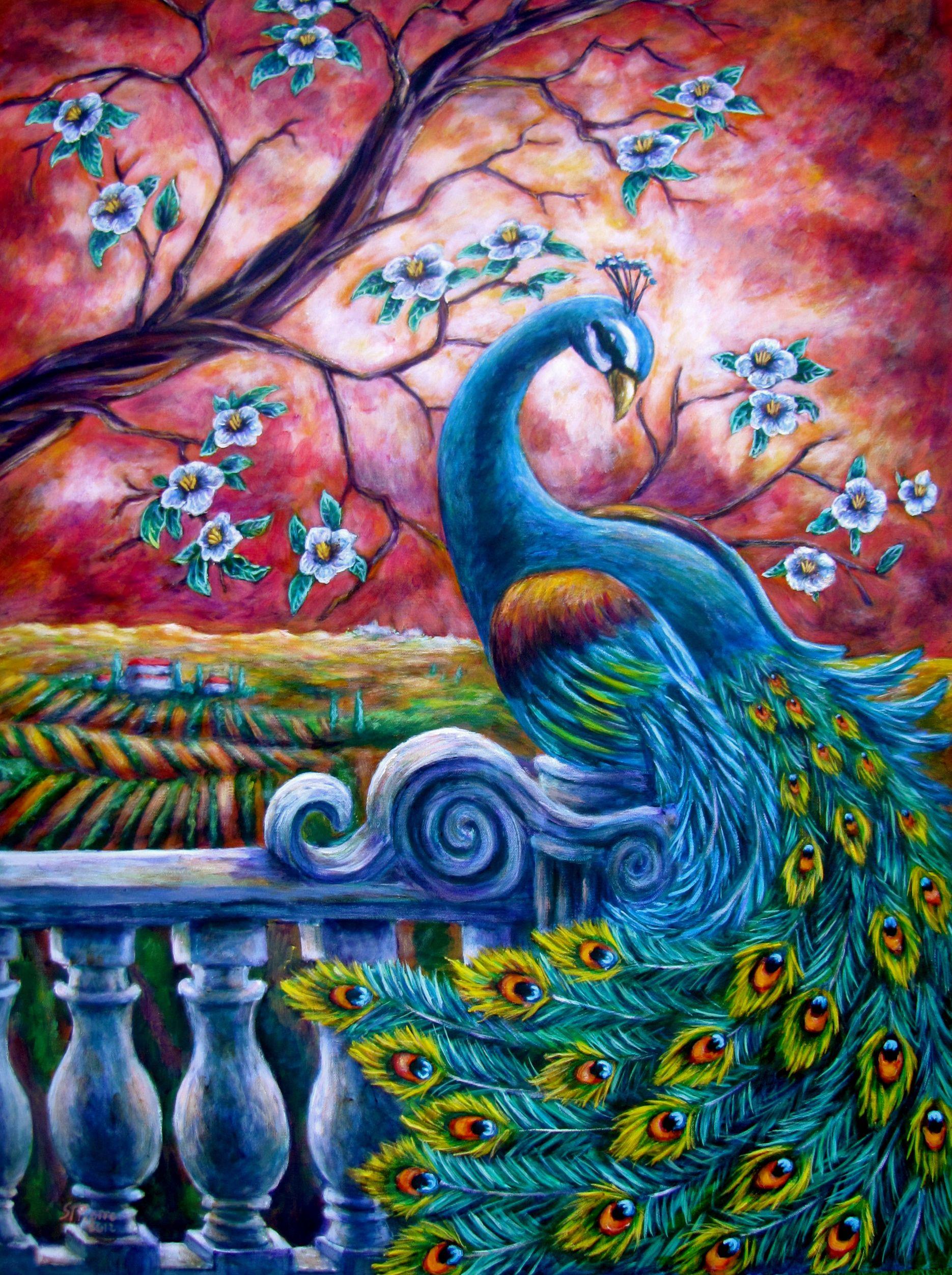 Peacock acrylic paintings - photo#51
