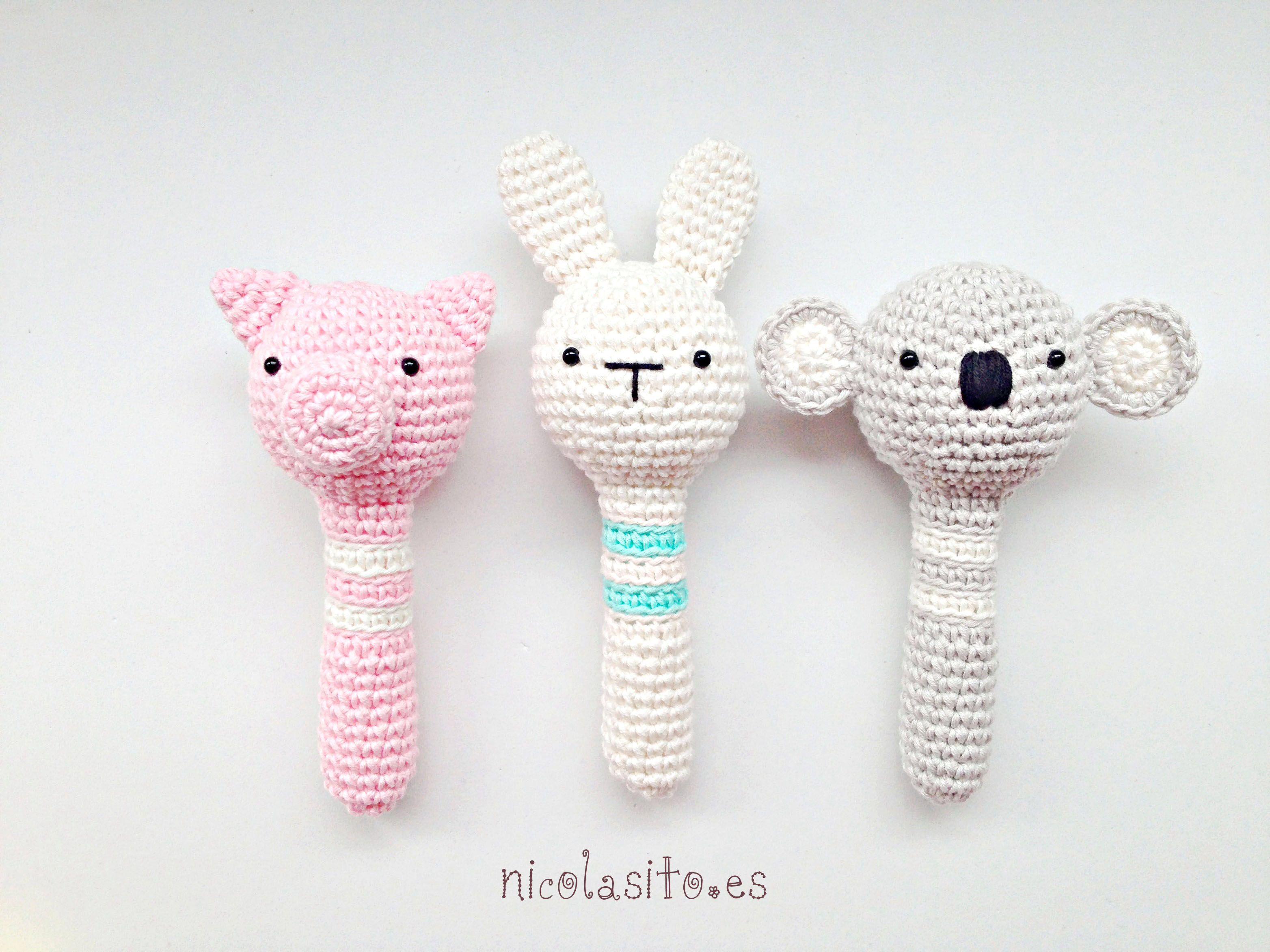 Sonajeros de animalitos tejidos en ganchillo. 100% hand made | bebe ...