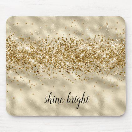 Glam Girly Gold Glitter Sparkle Confetti Mouse Pad