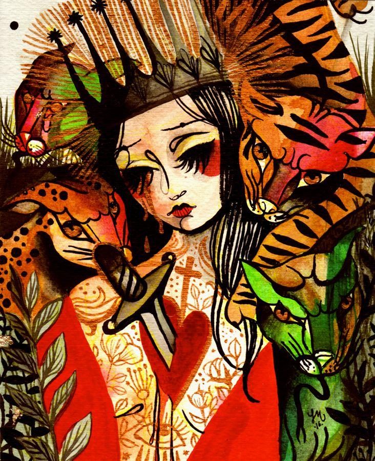 Lucrezia*U -SANTA VITALIA- acquerello, china, smalto e foglia oro su carta contact us: pparione9@gmail.com