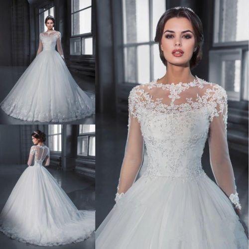 Vintage White/ivory Long Sleeve Lace Applique Wedding dress Bridal ...
